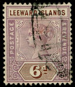 LEEWARD ISLANDS SG5, 6d dull mauve & brown, USED. Cat £15.