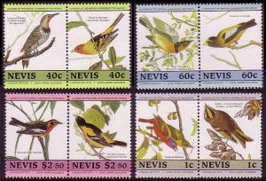 Nevis Birds Audubon 2nd issue 8v in pairs SG#285-292 SC#418=424 MI#268-275