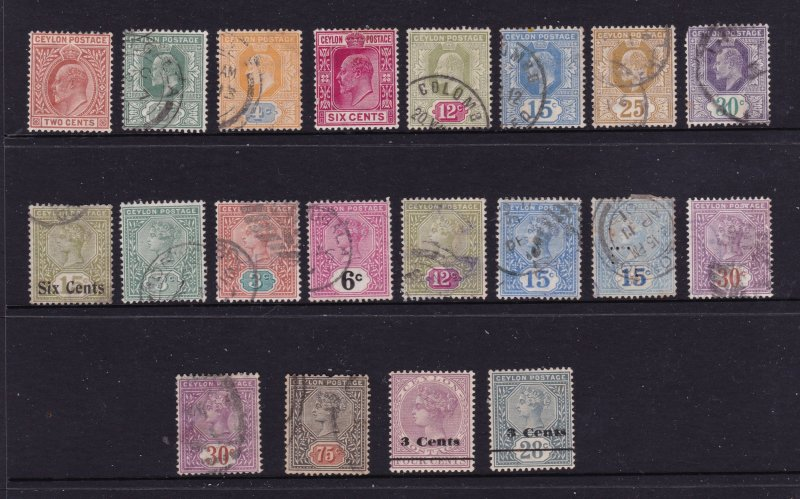 Ceylon a small mainly used lot of QV & Edwards