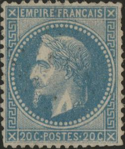 FRANCE - Yv.29B 20c bleu (type II) obl.