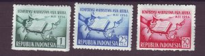 J25008 JLstamps 1956 indonesia set mh #421-3 map