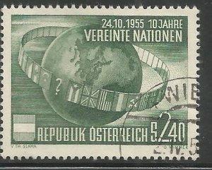 AUSTRIA  608  USED,  TENTH ANNIVERSARY OF UN