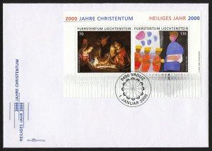 wc014 Liechtenstein 2000 years of Christianity souvenir sheet FDC first day cvr