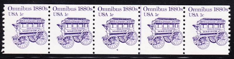 United States Nr.1897 Plate Number Strip of 5 Omnibus 1880's