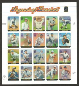 3408 (a-t) Legends Of Baseball Sheet Of 20 Mint/nh Selling At Face