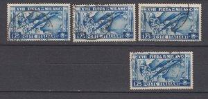 J29664, 4 1936 italy hv of set used #358 milan fair