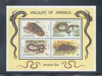 Jamaica Scc 594a 1984 snakes stamp sheet mint NH