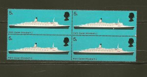 Great Britain 575 RMS Queen Elizabeth 2 Block of 4 MNH