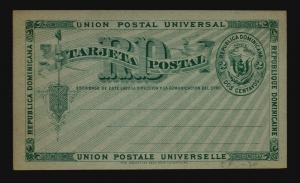 Dominican Republic 1890s UPU 2c Blue Card Unused - Z14806
