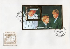 Niger 1997 Diana & Princes William & Harry 2 SS Gold+Silver YT #85/85A FDC