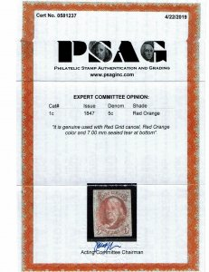 Scott #1c VF-used. With 2019 PSAG certificate. SCV - $9,000.00