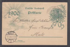 Germany Mi P43IBbd used. 1900 5pf Century Post Card with New Year Date, Railway