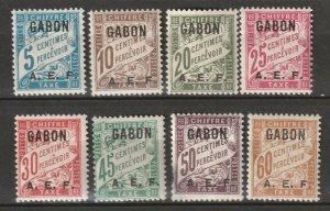 Gabon 1928 Sc J1-8 postage due partial set MH*