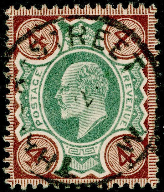 SG236, 4d green & chocolate-brown, FINE USED, CDS. Cat £30.