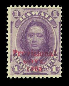 HAWAII 1893 Princess Kamamalu- Provisional Govt. OVPT. 1c violet Sc# 53 mint MNH