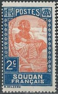 French Sudan 62 (mh) 2c Sudanese woman, dp blue & org (1931)