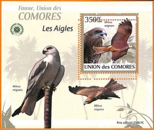 A5583 - COMOROS - ERROR, 2009, MISPERF SOUVENIR SHEET: Birds, Eagles