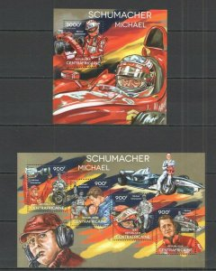 CA464 2014 CENTRAL AFRICA TRANSPORT RACING CARS F1 MICHAEL SCHUMACHER KB+BL MNH