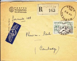 1954, Moreau, France to Phenom-Penh, Cambodia, Airmail, Registered (32219)