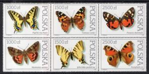 Poland MNH Block 3055a Beautiful Butterflies 1991