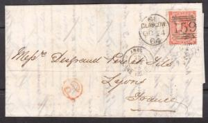Great Britain #34b Used On Lovely Folded Letter To Lyons France