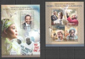 UG070 2013 UGANDA NOBEL PEACE PRIZE WINNERS OF AFRICAN ORIGIN #3075-8+BL428 MNH