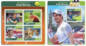 Z08 IMPERF MLD17507ab MALDIVES 2017 Andy Murray MNH ** Postfrisch Set