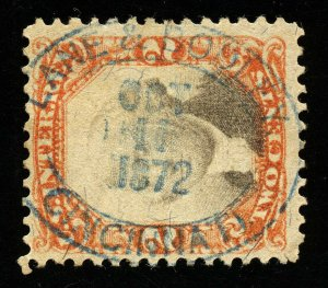 B188 U.S. Revenue Scott R135 3rd issue 2c orange & black 1872 blue oval cancel