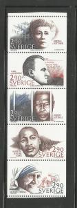 SWEDEN, 1622A, MNH, BKLT PANE OF 5, NOBEL PEACE PRIZE LAUREATES