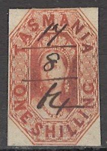 COLLECTION LOT OF #1755 AUSTRALIA STATE TASMANIA  #16 1858 CV=$90