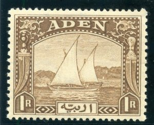 Aden 1937 KGVI Dhows 1r brown MLH. SG 9. Sc 9.