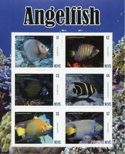 Nevis Fish Stamps 2019 MNH Angelfish Fishes Marine Fauna 6v M/S