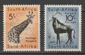 SOUTH AFRICA 1954 GIRAFFE 5/- AND BUCK 10/- MNH **