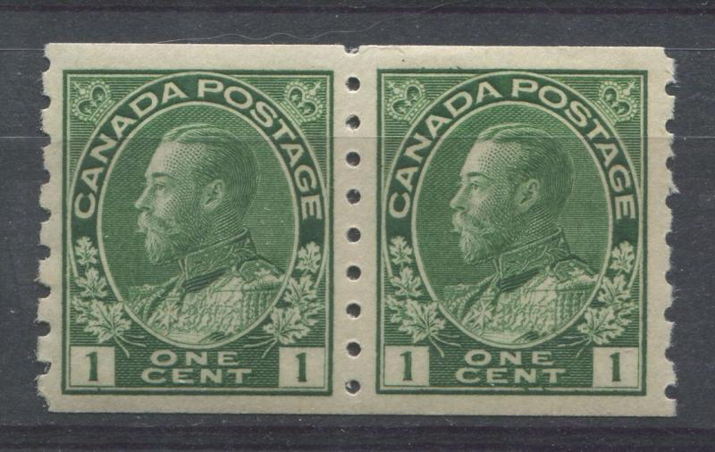 Canada #125iv 1c Dp Yellowish Green 1911-27 Admiral P. 8 Vert Pair -  VF-80 OG