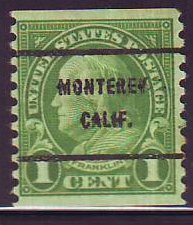 Monterey CA, 597-61 Bureau Precancel, 1¢ coil Franklin