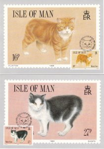 Isle of Man # 380-383, Manx Cats, Maxi Cards First Day Cancels