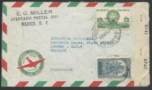 MEXICO 1943 airmail censor cover to UK.....................................10612