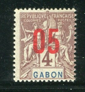 FRENCH COLONIES; GABON 1912 early Tablet surcharged issue Mint hinged 05/4c.