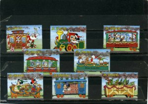 ST.VINCENT 1988 WALT DISNEY MICKEY'S CHRISTMAS TRAIN SET OF 8 STAMPS MNH