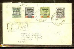 MALAYA KELANTAN  (P1312B) COVER  MBE 1C+4C+5C+10C REG 1925 TO ENGLAND.  SCARCE