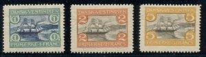 DANISH WEST INDIES #37-9 (38-40), Complete Harbor set, og, LH, VF, Scott $125.00