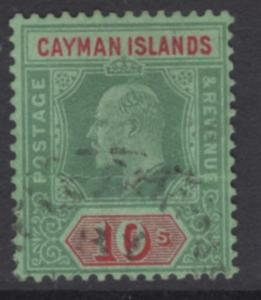 CAYMAN ISLANDS SG34 1908 10/= GREEN & RED/GREEN USED