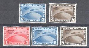 DEUTSCHES REICH, NIEMCY STAMPS, 1933,** ZEPPELIN ** Complete set of 5 FORGERY