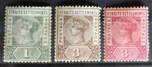 MALAYA 1892-99 STRAITS SETTLEMENTS QV 1c & 3c MINT SG#95-97 M2710
