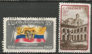 COLOMBIA  C379, C406  USED, 1960-61 ISSUE