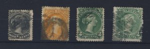 4x Canada Large Queen Used Stamps #21-1/2c #23-1c 2x #24-2c Guide Value= $250.00