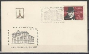 Uruguay, 1973 issue. 24/AUG/73, Music Theater cancel on Cover. ^