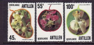 Netherlands Antilles-Sc#496-8-unused NH set-Flowers-Flora-Fruit trees-1983-
