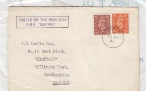 GB 1952 RMS Caronia Posted At Sea St Helena CDS J1715