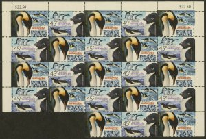 AUSTRALIAN ANTARCTIC Sc#L115-116 2000 Penguins Part Sheet of 11 Pairs Cpl MNH